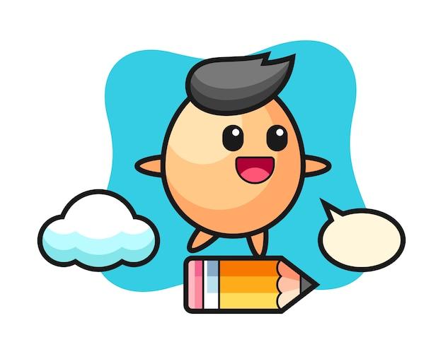 Illustrazione della mascotte dell'uovo che guida su una matita gigante, stile carino per t-shirt, adesivo, elemento logo
