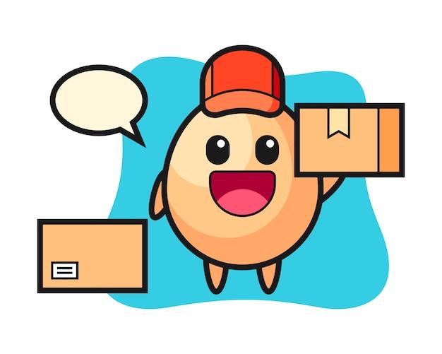 Illustrazione della mascotte dell'uovo come corriere, design in stile carino per t-shirt, adesivo, elemento logo