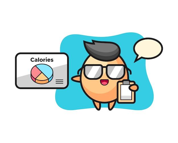 Illustrazione della mascotte dell'uovo come dietista, design in stile carino per t-shirt, adesivo, elemento logo