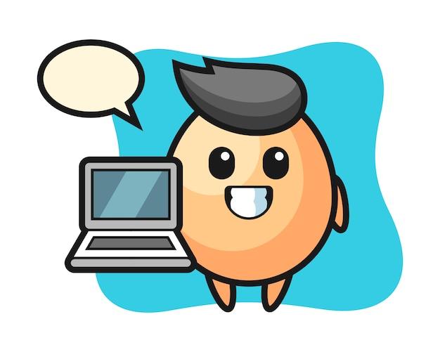 Illustrazione della mascotte dell'uovo con un computer portatile, design carino stile per t-shirt, adesivo, elemento logo