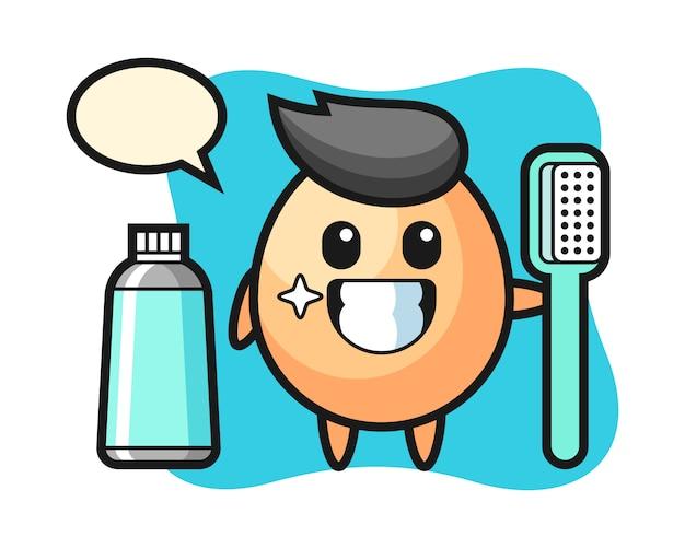 Illustrazione della mascotte dell'uovo con uno spazzolino da denti, design in stile carino per t-shirt, adesivo, elemento logo