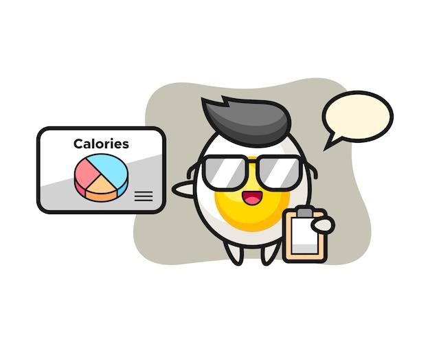 Illustrazione della mascotte dell'uovo sodo come dietista