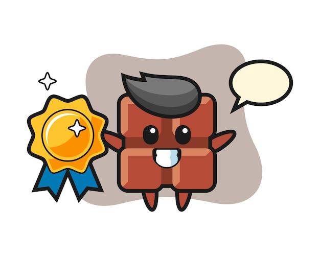 Illustrazione della mascotte della barra di cioccolato che tiene un distintivo dorato, stile kawaii sveglio.