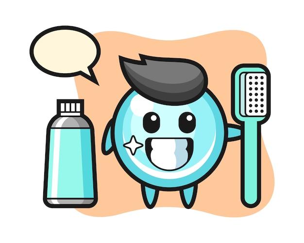 Illustrazione della mascotte della bolla con uno spazzolino da denti, progettazione sveglia di stile