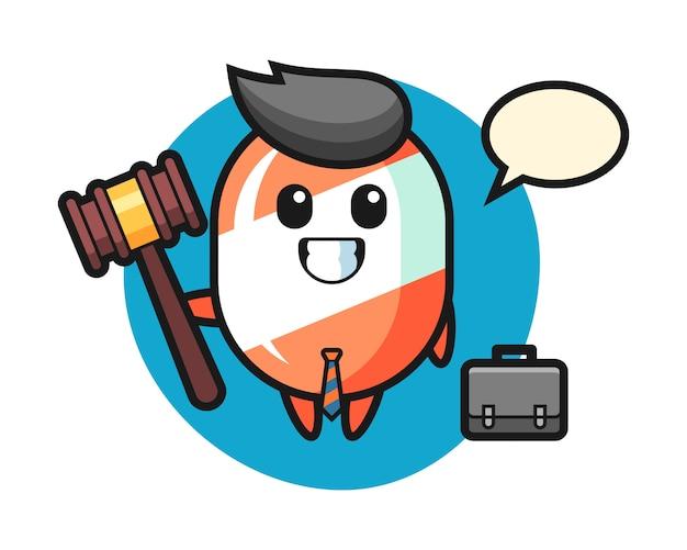 Illustrazione della mascotte della caramella come avvocato