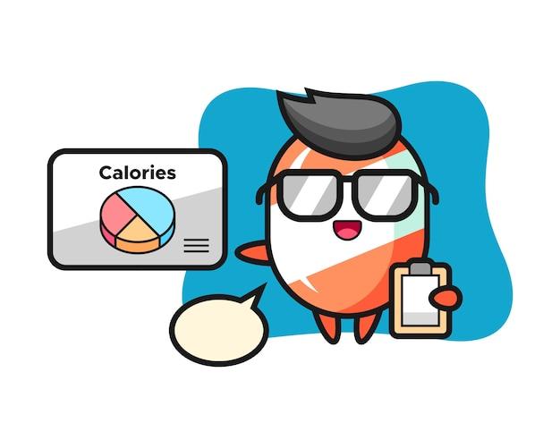Illustrazione della mascotte della caramella come dietista