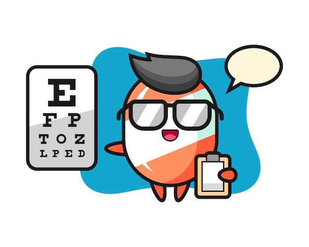Illustrazione della mascotte della caramella come oftalmologia