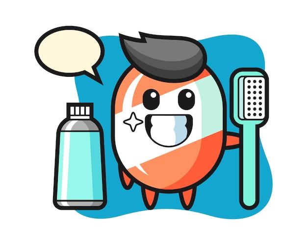 Illustrazione della mascotte della caramella con uno spazzolino da denti