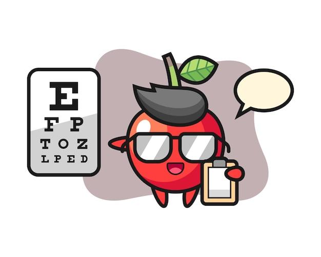 Illustrazione della mascotte della ciliegia come oftalmologia, progettazione sveglia di stile