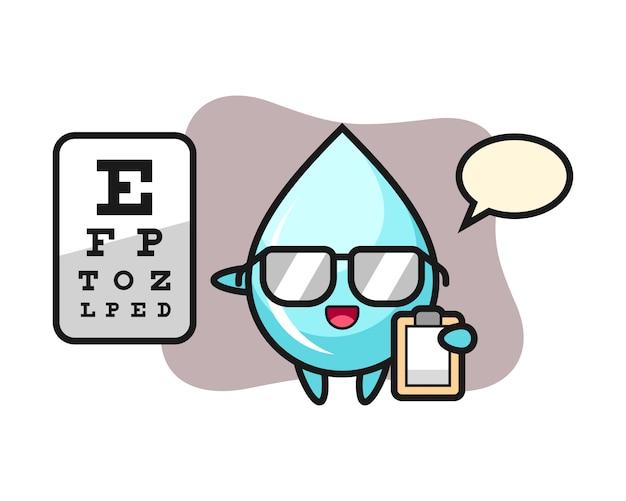 Illustrazione della mascotte della goccia di acqua come oftalmologia, progettazione sveglia di stile per la maglietta