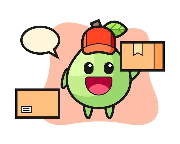 Illustrazione della mascotte della guaiava come corriere, stile carino per t-shirt, adesivo, elemento logo