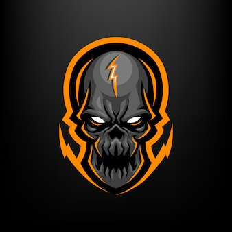 Illustrazione della mascotte della testa del cranio per il logo di sport e sport isolato su priorità bassa nera