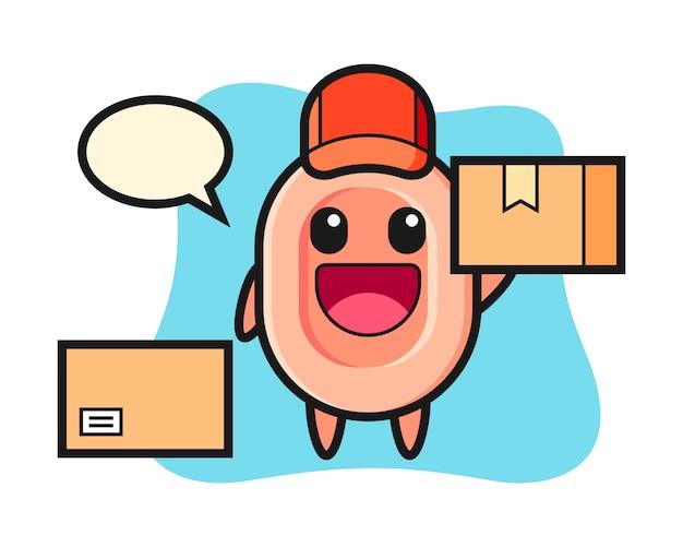 Illustrazione della mascotte di sapone come un corriere, stile carino per t-shirt, adesivo, elemento logo