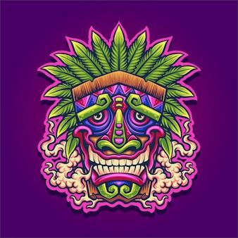 Illustrazione della mascotte di tiki della cannabis