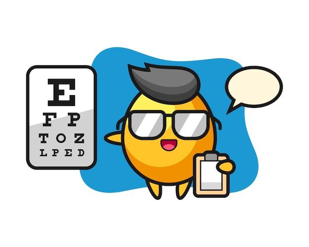 Illustrazione della mascotte dorata dell'uovo come oftalmologia, progettazione sveglia di stile