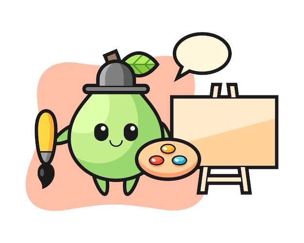 Illustrazione della mascotte guava come pittore, design in stile carino per t-shirt, adesivo, elemento logo