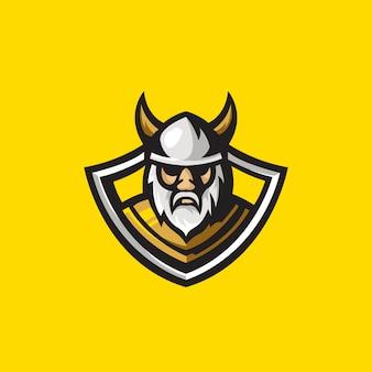 Illustrazione della mascotte logo viking