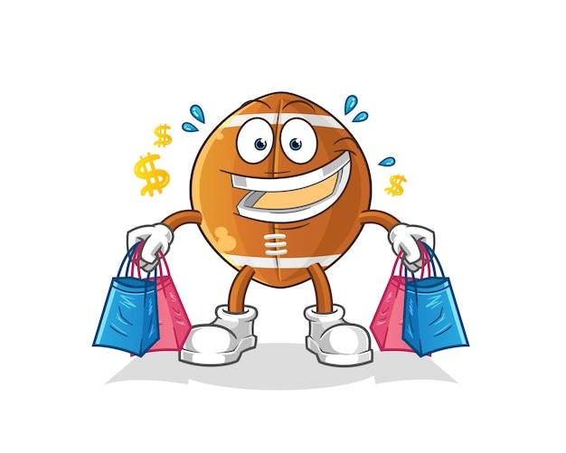 Illustrazione della mascotte shoping palla da rugby