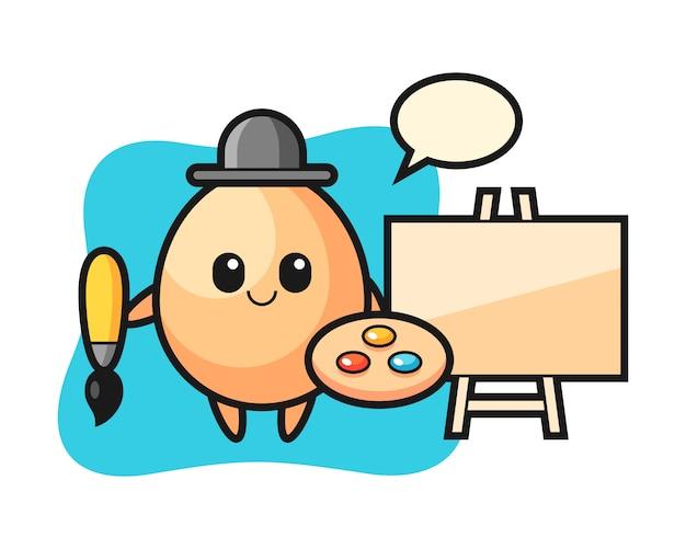 Illustrazione della mascotte uovo come pittore, design in stile carino per t-shirt, adesivo, elemento logo