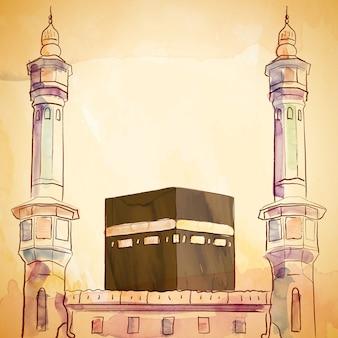 Illustrazione della moschea di haram e kaaba con schizzo di pennello e inchiostro dell'acquerello di vettore