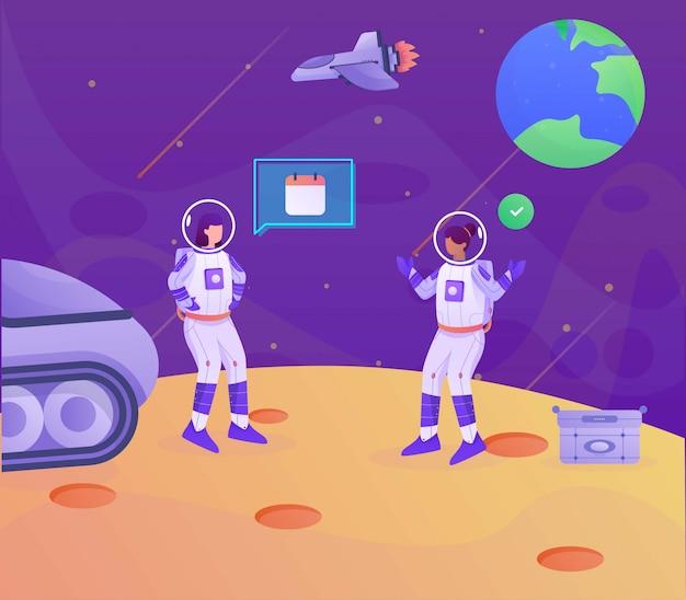 Illustrazione della pagina di atterraggio dell'illustrazione di pianificazione di programma dell'astronauta
