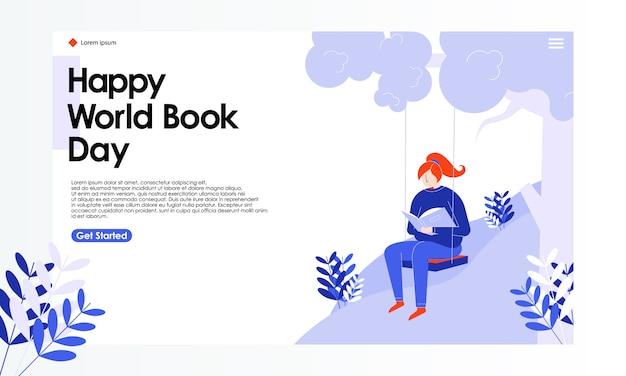 Illustrazione della pagina di atterraggio di giorno del libro del mondo