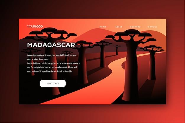 Illustrazione della pagina di atterraggio di viaggio con il tema del madagascar degli alberi del baobab