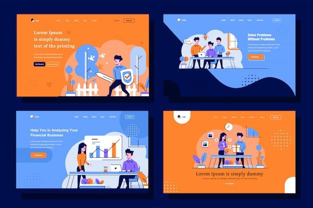 Illustrazione della pagina di destinazione aziendale e aziendale in stile di design piatto e contorno