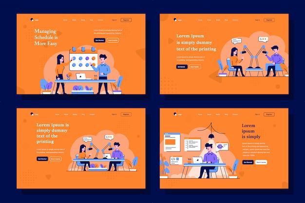 Illustrazione della pagina di destinazione di affari, avvio e trasmissione in stile piatto e contorno