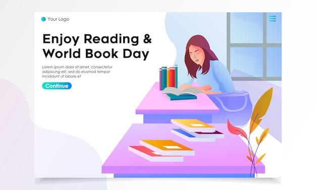 Illustrazione della pagina di sbarco del giorno del libro del mondo