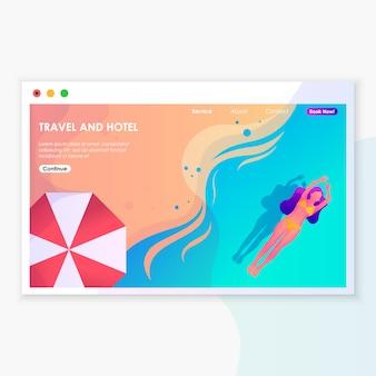 Illustrazione della pagina di sbarco di viaggio e dell'hotel
