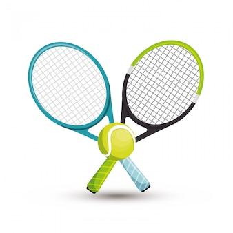 Illustrazione della palla da tennis di due racchette