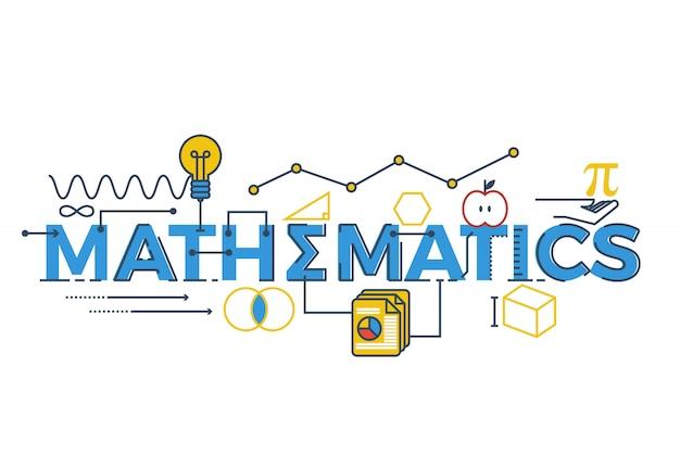 Illustrazione della parola matematica in stem - scienza, tecnologia, ingegneria, matematica c
