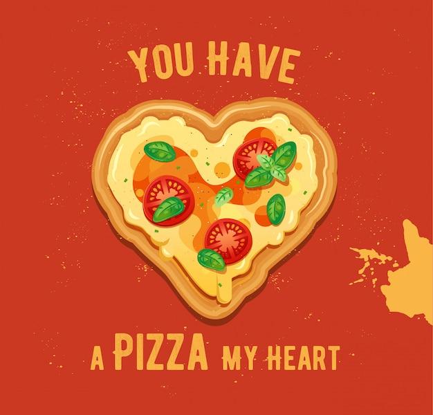 Illustrazione della pizza a forma di cuore