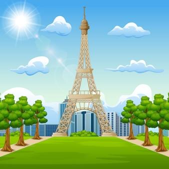 Illustrazione della priorità bassa di paesaggio con la torre eiffel