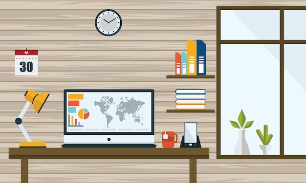 Illustrazione della progettazione piana di affari del computer della tabella dello spazio di lavoro per ufficio