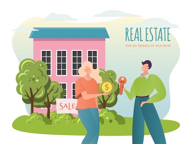 Illustrazione della proprietà di vendita, casa piana di vendita del carattere dell'intermediario dell'agente del fumetto, la gente compra o affitta la nuova casa, concetto dell'agenzia immobiliare