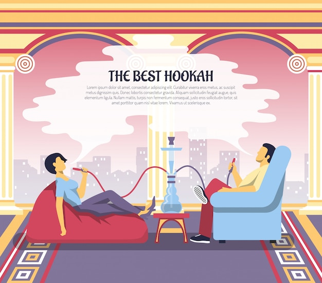 Illustrazione della pubblicità del salotto del narghilé