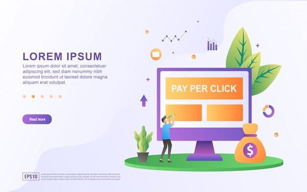 Illustrazione della pubblicità o pay-per-click con un computer e le icone della borsa dei soldi