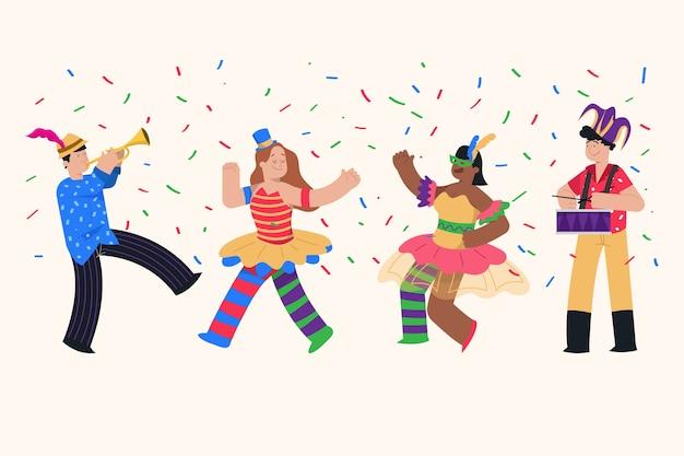 Illustrazione della raccolta dei ballerini di carnevale