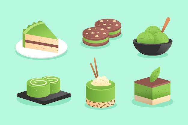 Illustrazione della raccolta del dessert di matcha