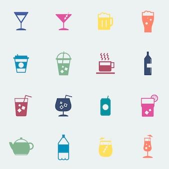 Illustrazione della raccolta delle icone delle bevande di rinfresco