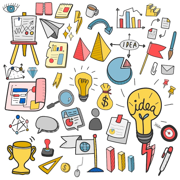 Illustrazione della raccolta di doodle di affari di avvio