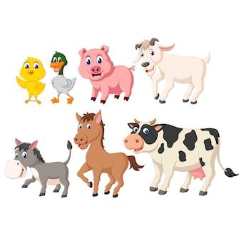 Illustrazione della raccolta di set di animali da fattoria