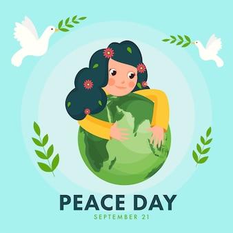 Illustrazione della ragazza carina che tiene globo terrestre verde con mosca colombe e foglie di olivo su sfondo blu per la giornata della pace.