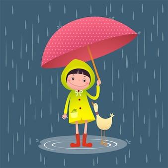 Illustrazione della ragazza carina e amici con l'ombrello nella stagione delle piogge