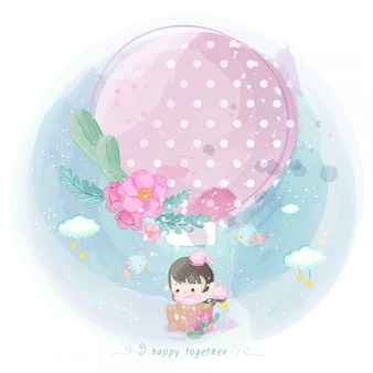Illustrazione della ragazza carina su una mongolfiera