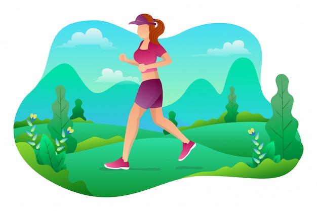 Illustrazione della ragazza che funziona su una montagna nello stile piano