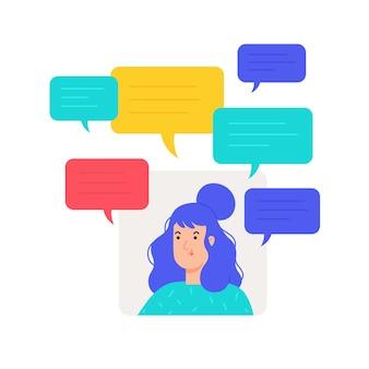 Illustrazione della ragazza dell'avatar con invio di messaggi di testo.