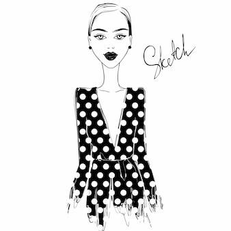 Illustrazione della ragazza di moda di vettore nello stile di moda